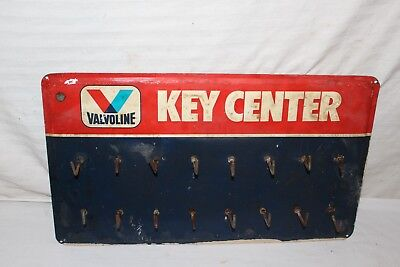 "Vintage c.1970 Valvoline Motor Oil Key Holder Gas Station 18"" Metal Sign"