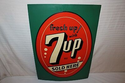 "Rare Vintage 1942 7Up 7 Up Soda Pop Gas Station 28"" Embossed Metal Sign"
