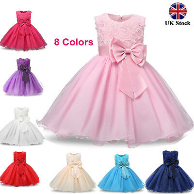 Girls Bridesmaid Dresses Baby Flowers Kids Party Rose Bow Wedding Dress Princess