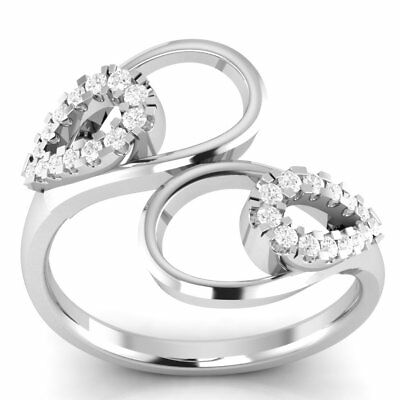 0.42 CT Round Diamond Vintage Bypass Ring 14k White Gold Over Sterling Silver