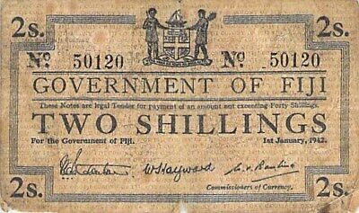 GOVERNMENT OF FIJI 2 SHILLINGS NOTE 1942 P-50a LOW GRADE