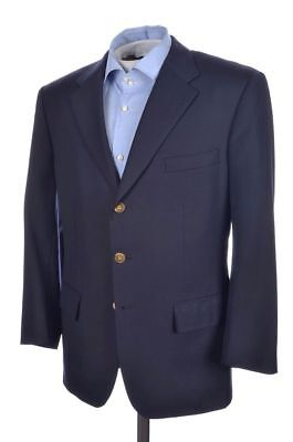 CHESTER BARRIE Solid Blue Gold Button 100% Wool Blazer Sport Coat Jacket - 40 S