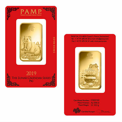 1 oz PAMP Suisse 2019 Year of The Pig Gold Bar (In Assay) Presale 10/12