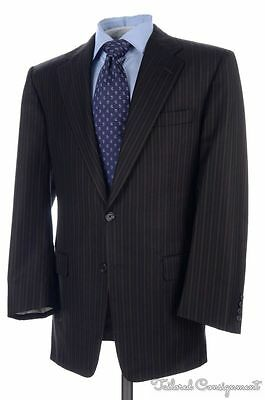 HICKEY FREEMAN Recent Brown Striped 100% Wool Jacket Pants SUIT Mens - 40 R