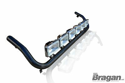 To Fit Mercedes Atego Black Steel Front Roof Light Lamp Bar + Rectangle Spots