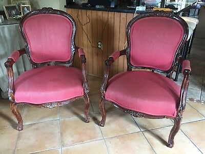 2 Beautiful (Pair) Vintage Original French Louis XV Arm Chairs Solid!
