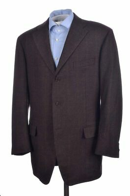 BERGDORF GOODMAN by CANTARELLI Brown Plaid Wool Blazer Sport Coat Jacket - 44 L