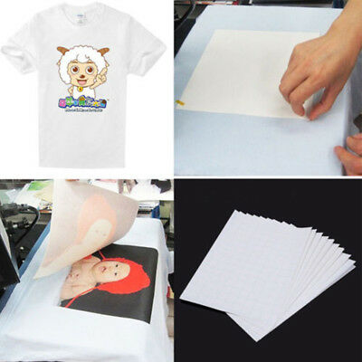 10Sheets A4 Sublimation Heat Transfer Paper for Polyester Cotton T- Shirt Fabric