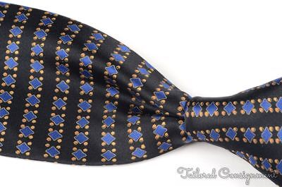 BRIONI Black Geometric Blue Diamond 100% Silk Satin Mens Luxury Tie - 3.50""