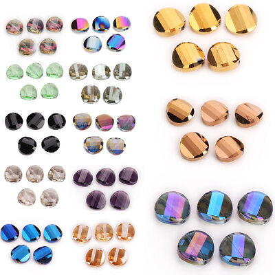 Hot 18mm 10pcs Glass Crystal Round Flat Spacer Loose Beads Jewelry Design New