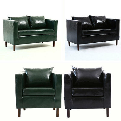 Green/Black Faux Leather Sofa Chair Bed Double Single 1-2 Seater Modern Couch UK