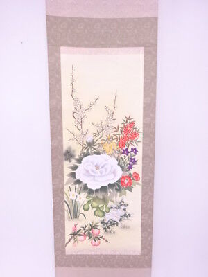 3805733: Japanese Wall Hanging Scroll / Hand Painted / Four Seasons Flowers