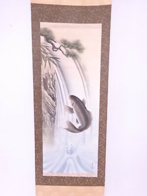 3805857: Japanese Wall Hanging Scroll / Hand Painted / Carp