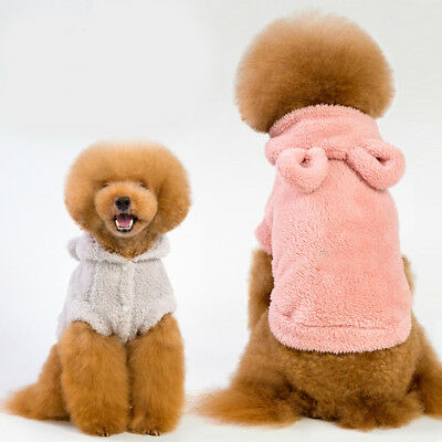 Fashion Warm Puppy Dog Small Pet Hooded Coat Costume Solid Autumn Winter