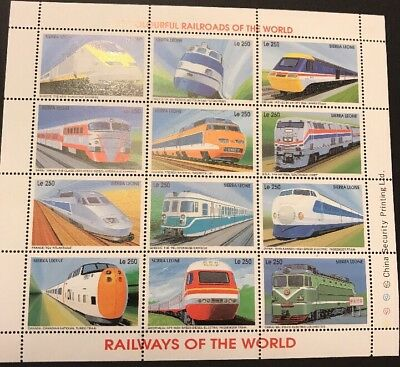 TRAINS - 1995 SIERRA LEONE - Colourful Railroads of the World (1x Le250 M/S) MNH