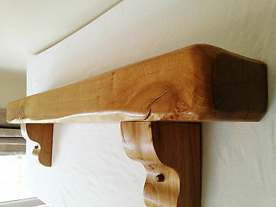 "Solid Oak Beam,rustic Mantel,floating Shelf,inc Large Corbels Size 72 ""x 6""x 4"""