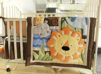4pcs Baby Bedding Sets Quilt Bumpers Fitted Sheet Crib Valance Nursery Cot Brown