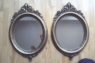 Pair Of Ornate Classic Antique Style Oval Mirrors In Gold Antique Look.