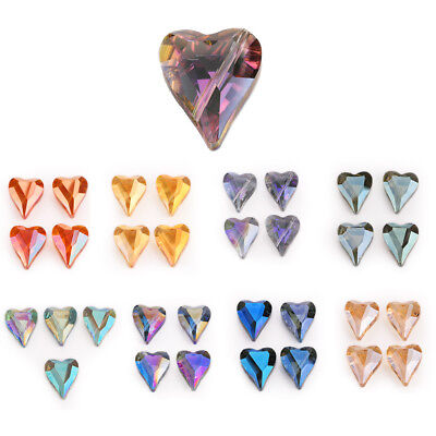 5pcs 22x18mm Faceted Glass Crystal Heart Spacer Beads DIY Jewelry Accessories
