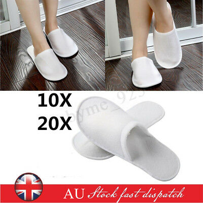 10/20 Pairs Unisex Towelling Hotel Disposable Slippers White Spa Shoes Soft Sole