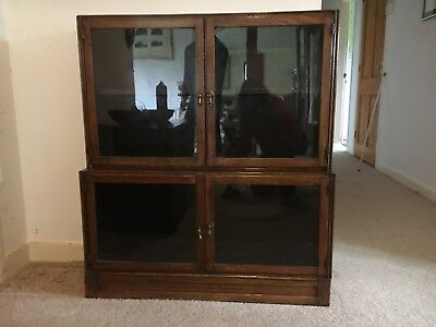 Oak Glass Fronted Sectional Bookcase Globe wernicke Style