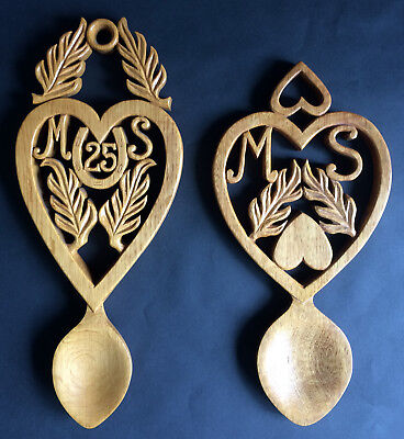 Pair Of Welsh Wooden Love Spoons Celebrating 25 Years, Personalised Letters M&S