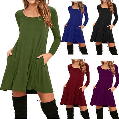 Spring Autumn Women Loose A-line O-neck Long Sleeve Dress Solid Casual Dress 8C