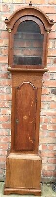 """Lovely Antique Cross Banded Long Case Grandfather Clock Case 12"""" By 17"""" Dial"""