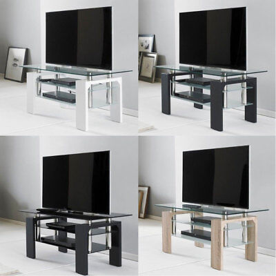 Modern Rectangle TV Television Glass Stand Table Unit Cabinet Shelf 3 Tier