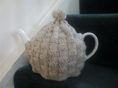 Hand knitted teapot cosy,  oatmeal colour (fits 6 cup teapot)