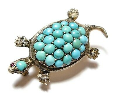 Beautiful Antique Victorian Novelty Silver & Turquoise Turtle  Brooch Af (A2)