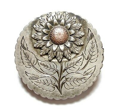Beautiful Old Antique Victorian Silver Aesthetic Flower Disc Brooch Pin (A12)