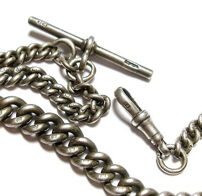 Beautiful Old Long Antique Victorian Graduated Albert Pocket Watch Chain (A14)