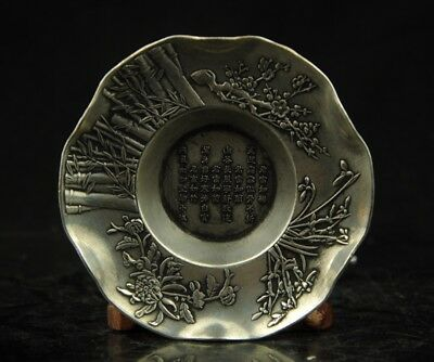 chinese old hand engraving bird plum blossom  bamboo silver dish