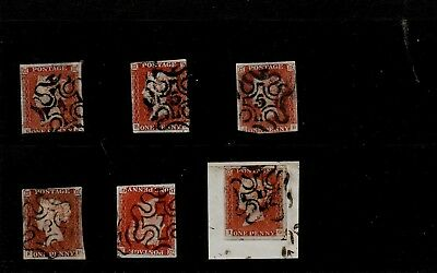 GB 1840s 1d PENNY REDS Imperf STAMPS all with NUMBERS in Maltese Cross REF:A117q
