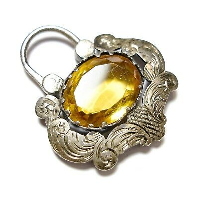Beautiful Old Antique Victorian Silver & Citrine Jewellery Padlock Clasp (A17)