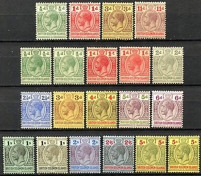 Solomon Islands 1913/14 issues between, SG 18 & 36, Mint Hinged, CV £220