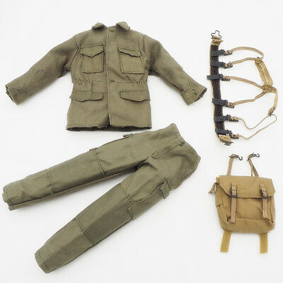 1/6 Scale Uniforms Outfits Suit Backpack pants Olive set WWII for Action Figures