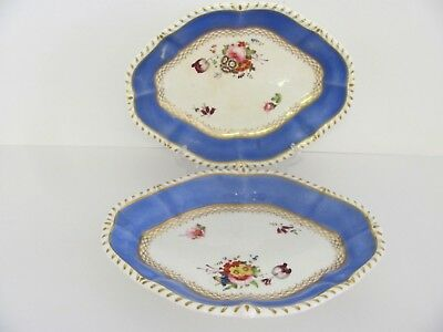 Antique 2 English Dishes Hand Painted ca1820 Crown Backstamp
