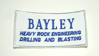 Vtg Bayley Heavy Rock Engineering Drilling Blasting Jacket Patch New NOS 1980s
