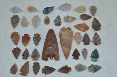 """36 PC Flint Arrowhead Ohio Collection Points 2-3"""" Spear Bow Knife Hunting Blade"""