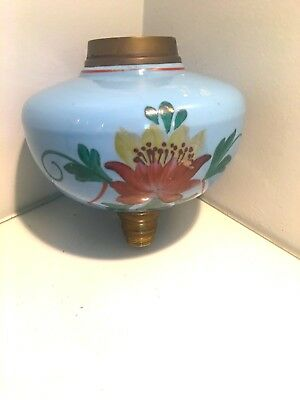 pale duck egg blue painted flowers oil lamp fount