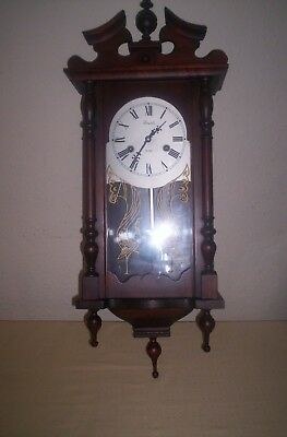 vintage lincoln 31 day wall clock wood / glass case very large 99p no reserve