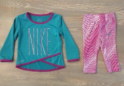 Nike Dri-Fit Infant Girl 2 Pc Set Outfit Athletic Leggings Size 12 M 16C744-A4F