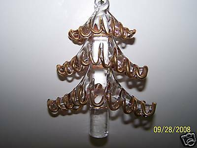 Crystal Christmas Tree Ornament with Gold Accents 3""