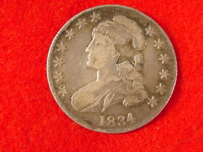1834 Capped Bust Silver Half Dollar Counter Stamped Star VF Free S/H After 1st