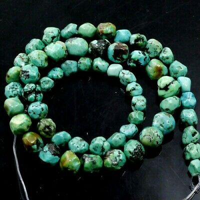 """4-9mm Natural Genuine Turquoise Faceted Nugget Loose Beads 15""""(TU169) Free Shipp"""