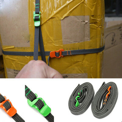 2.5M Outdoor Travel Tied Luggage Straps Stainless Hook Strapping Cord Tape Rope