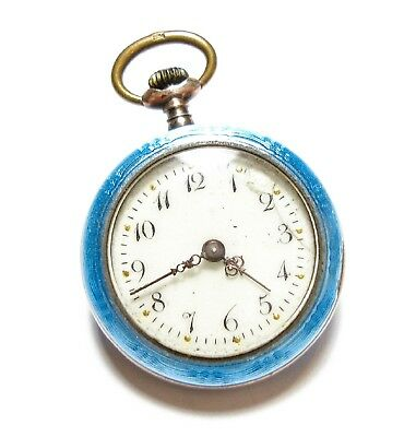 Beautiful Old Vintage Or Antique Silver & Enamel Pocket Watch Fob Af (A23)