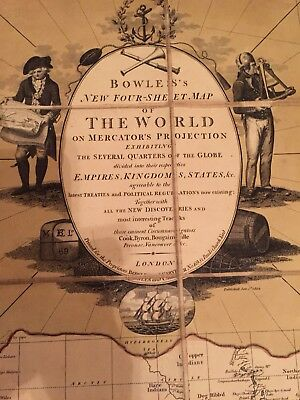 ~Very Rare 1795 World Map~ Bowles'S New Four Sheet Map Of The World